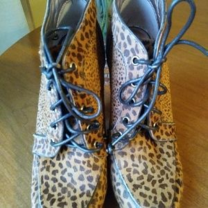 BCBGeneration leopard tie up ankle booties